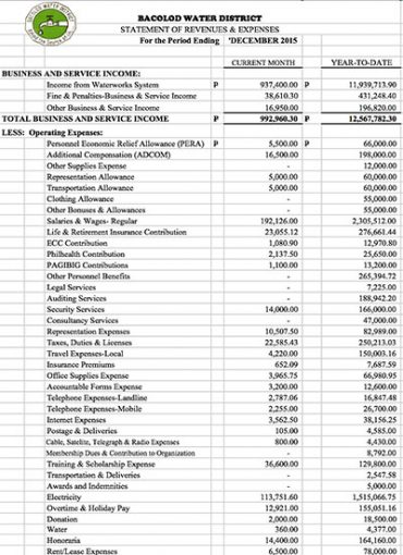 Financial Report CY 2015 Statement of Revenue and Expenses
