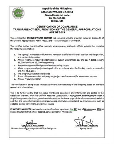 Certification of Compliance with the Transparency Seal Provision of the General Appropriations Act CY 2016