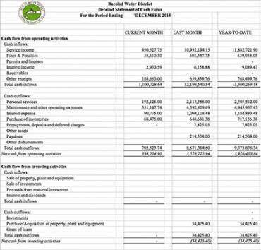 Financial Report CY 2015 Cash Flow Statement