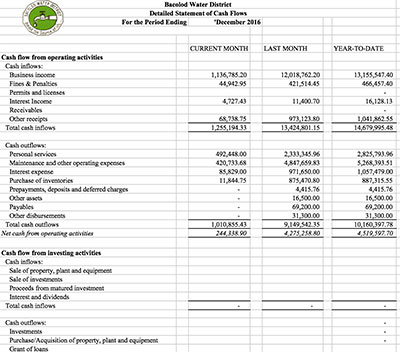 Financial Report CY 2016 Cash Flow Statement