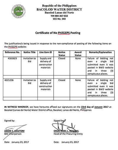 Certification of Compliance PhilGEPS Posting 2016