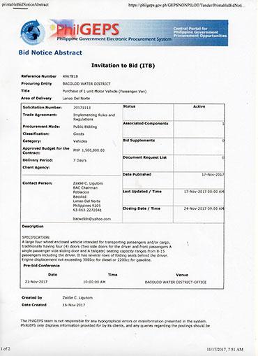 Invitation to Bid – Motor Vehicle (Passenger Van)