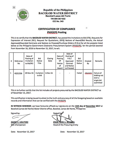 Certification of PHILGEPS Posting 2017