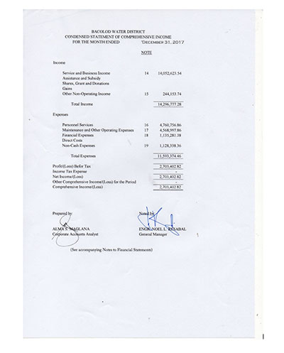 Financial Report CY 2017  Statement of Revenue and Expenses