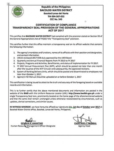 Certification of Compliance with the Transparency Seal Provision of the General Appropriations Act CY 2017