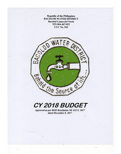 Approved Budgets and Corresponding Targets CY 2018