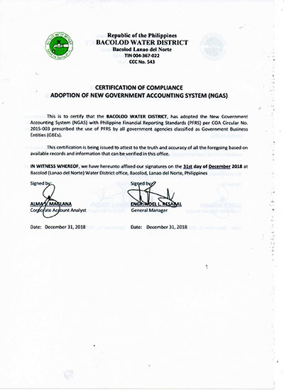 Certification of Compliance New Government Accounting System (NGAS)