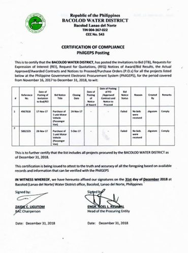 Certification of Compliance PhilGEPS Posting CY 2018