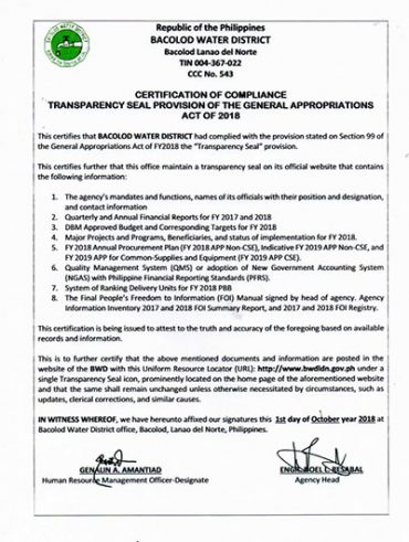 Certification of Compliance Transparency Seal CY 2018
