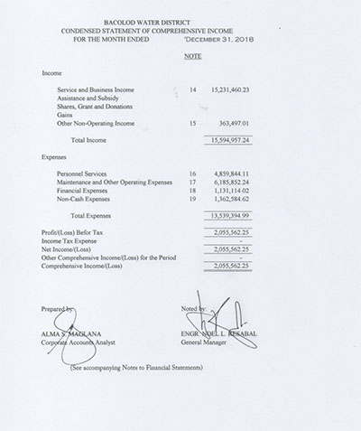 Statement of Revenue and Expenses CY 2018