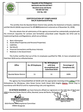 Certification of Compliance- Statement of Assets, Liabilities and Net Worth (SALN Submission/ Filling) CY 2019