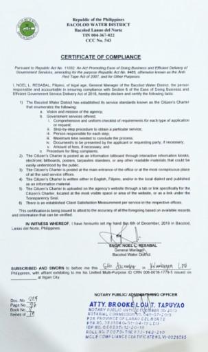 Certificate of Compliance – EODB EGSD – CY 2019