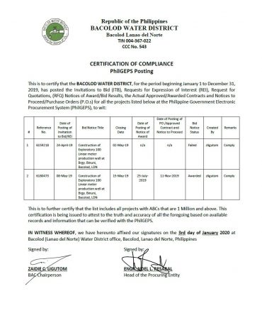 Certification of Compliance PhilGEPS Posting CY 2019