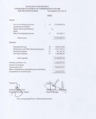 Statement of Revenue and Expenses CY 2019