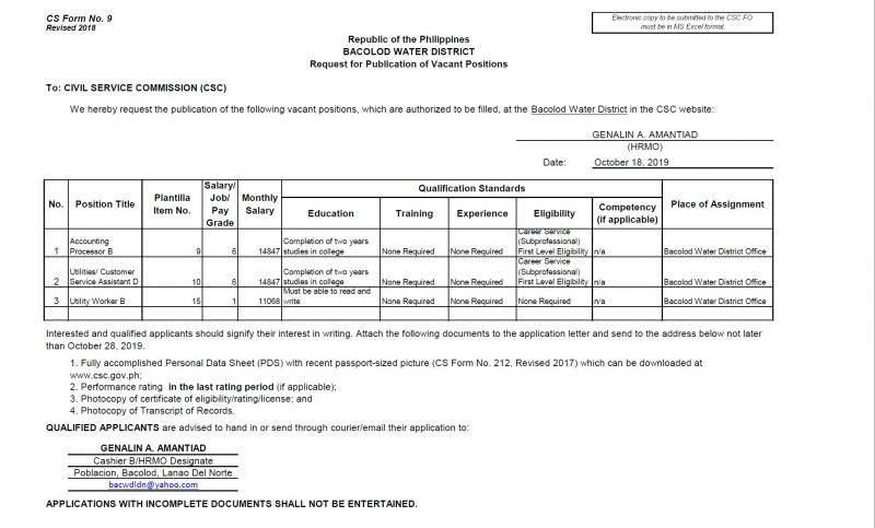 Request for Publication of Vacant Positions