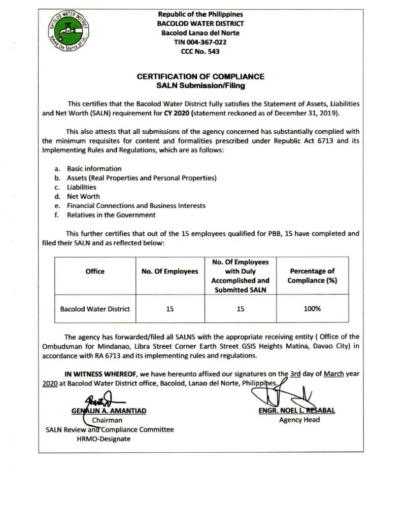 Certification of Compliance-  Statement of Assets, Liabilities and Net Worth (SALN Submission/Filling) CY 2020