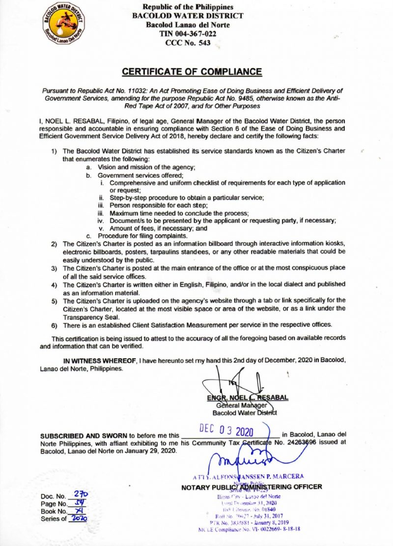 Certification of Compliance Anti-Red Tape Act CY 2020