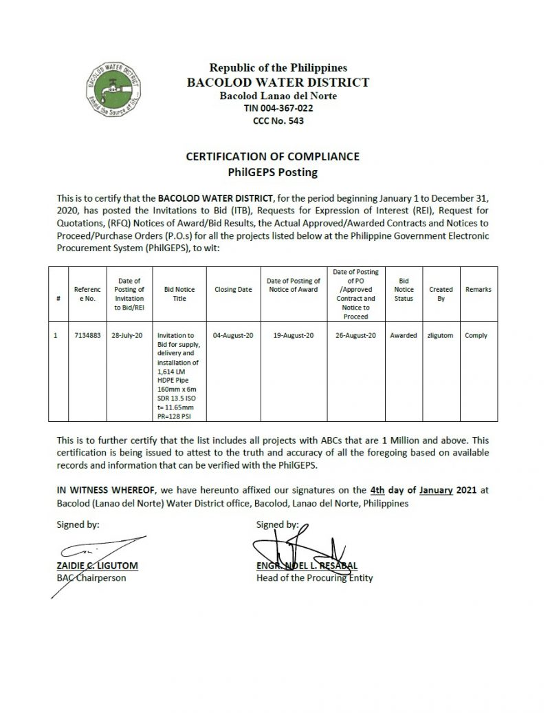 Certification of Compliance PhilGEPS Posting CY 2020