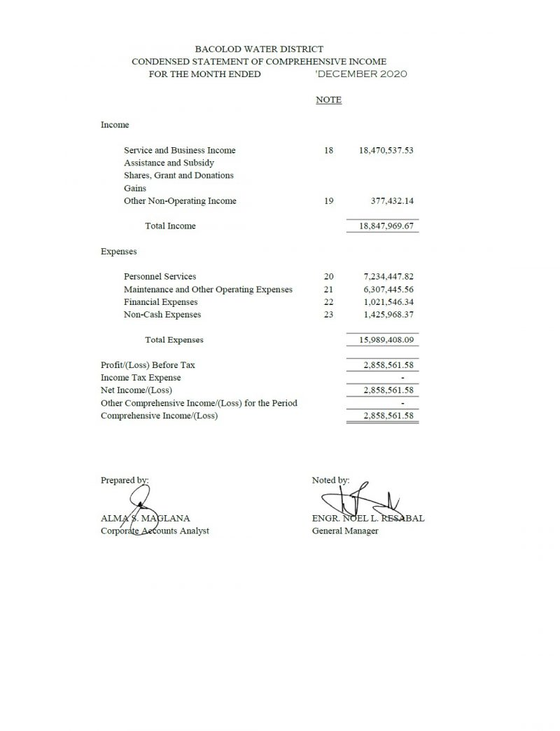 Statement of Revenue and Expenses CY 2020