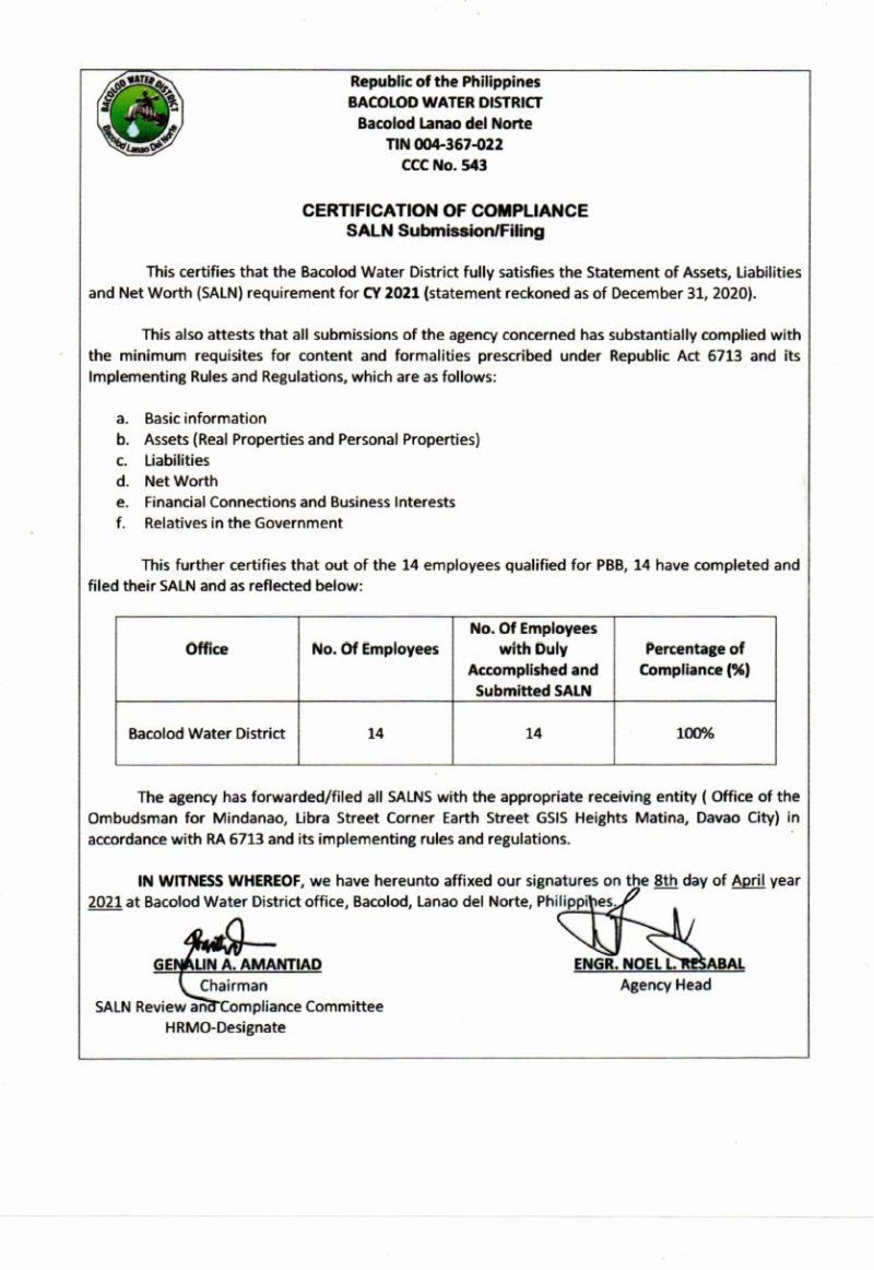 Certification of Compliance- Statement of Assets, Liabilities and Net Worth (SALN Submission/Filling) CY 2021